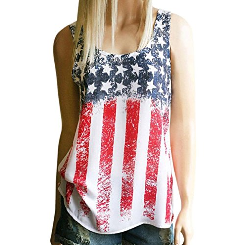 Women T-Shirt, Fourth of July American Flag Sleeveless Tank Crop Tops Vest Blouse (A, L)