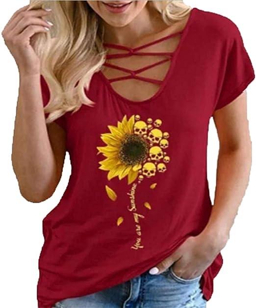 ZFQQ Summer Camiseta Femenina Personalidad cráneo cráneo ...
