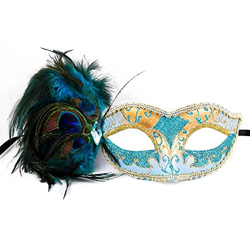Teal Blue Teal Sky Blue Peacock Masquerade Mask Party Mask Women's -