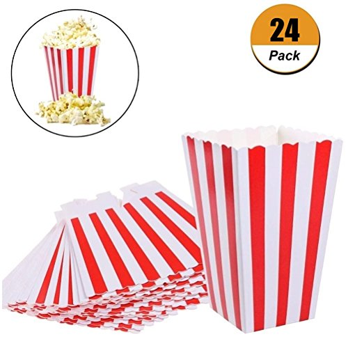 Eshylala Popcorn Boxes Bags Paper Candy Popcorn Container Food Favor Bags for Party Favor Supplies, Pack of 24