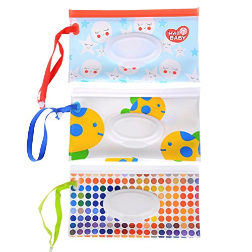 Welecom 3 Pack Baby Wet Wipe Pouch Travel Wipes Case Reusable Refillable Wet Wipe Bag Cases Portable Travel Wipes Dispenser Wipe Pouches For Baby by Welecom