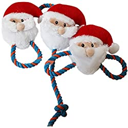 gainvictorlf Pet Supplies Cartoon Santa Claus Shape Pet Plush Sound Squeak Puppy Cat Chewing Play Toys
