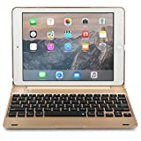 iPad Pro 9.7 / iPad Air 2 keyboard case, [NEW] COOPER KAI SKEL Bluetooth Wireless Keyboard Portable Laptop Macbook Clamshell Case Cover with 14 Shortcut Keys for Apple iPad Air 2 / Pro 9.7 (Gold)