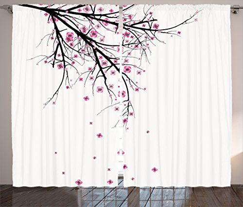 "Ambesonne Nature Curtains, Cherry Blossoming Falling Petals Flowers Springtime Park Simple Illustration Print, Living Room Bedroom Window Drapes 2 Panel Set, 108"" X 90"", Pink Black"