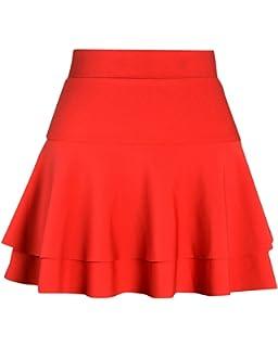 4d3391358f121 PengGeng Femme Simple Boutonnage Plaine Jupe De Taille Haute A-Line ...