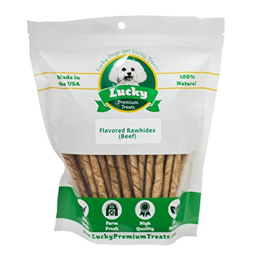 - Lucky Premium Treats Beef Basted Rawhide Dog Treats for Small Dogs Made in The USA Only, Flavored Beef Rawhide Twists, 70 Chews
