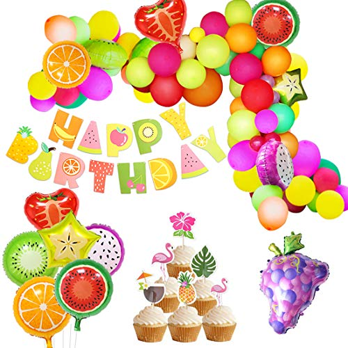JOYMEMO Tutti Frutti Party Decorations Fruit Balloon Arch Garland Kit Fruity Birthday Baby Shower Decorations Happy Birthday Banner for Summer Tropical Luau Theme Party ()