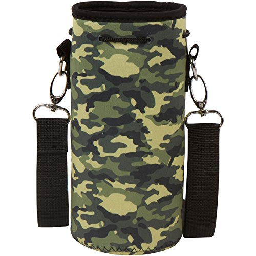 Neoprene Water Bottle Carrier Holder (32 ounces or 1-1.5 Liter) w/Adjustable Shoulder Strap - Protect Your Containers From Damage - Cover Glass Bottles - Dog Bottle Carrier by Made Easy Kit (Camo)