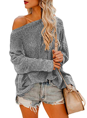 Sweater Strapless (Asvivid Womens One Off Shoulder Long Sleeve Sweater Casual Oversized Knitted Fall Pullover Jumper Tops M Grey)