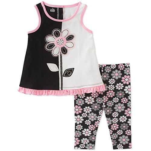 (Kids Headquarters Girls' Toddler Tunic Set-Sleeveless, Black/Pink/White)