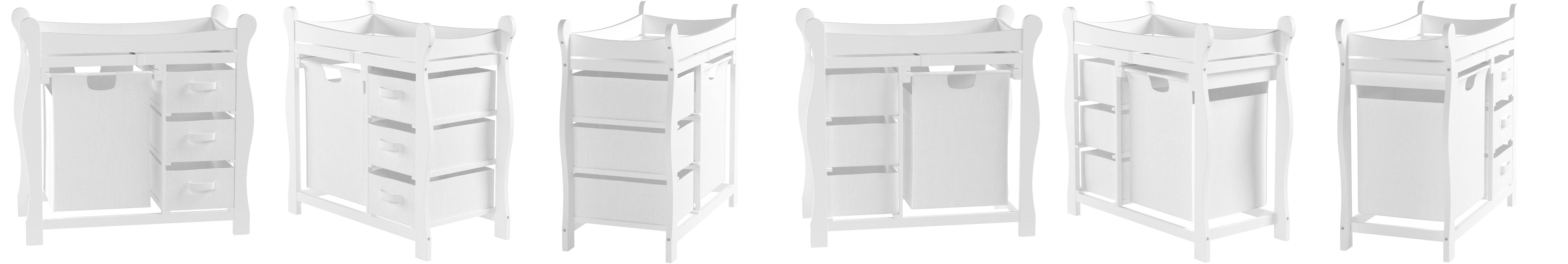 Badger Basket Company Sleigh Style Changing Table with Hamper//3 Baskets in White