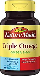 Nature Made Triple Omega 3-6-9 Softgels w. Fish, Flaxseed, Safflower & Olive Oils 3 Pack