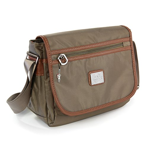 Schultertasche, Umhängetasche braun, natur Nylon Damen Handtasche Bag Street OTJ222C