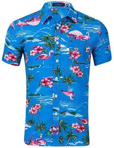 - XI PENG Men's Tropical Short Sleeve Floral Print Beach Aloha Hawaiian Shirt (Pink Flamingo Hibiscus Acid Blue, Small)