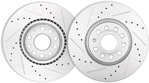 For 2016-2018 Mini Cooper Clubman Front Rear Slotted Brake Rotors+Ceramic Pads