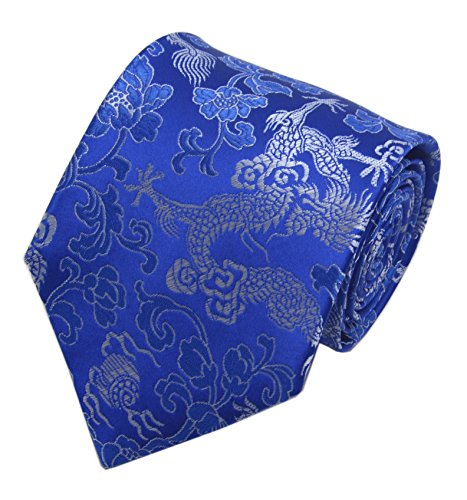 Royal Blue Silver Jacquard Woven Silk Ties Formal Neckties Present Gifts for Men