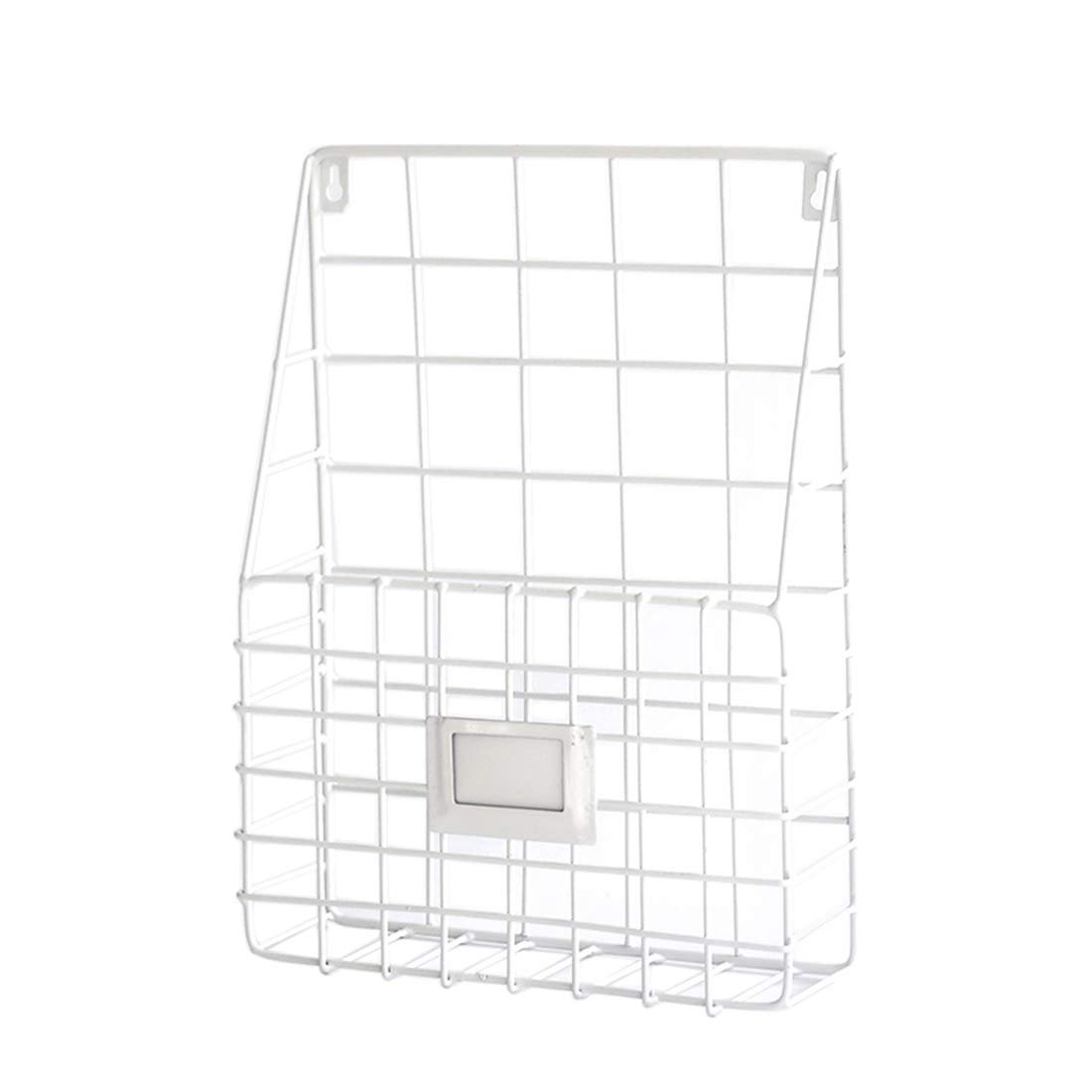 YUENA Care Mail Basket Metal Wall File Organizer Wall Mounted Magazine Rack Mesh Wire Shelf Black YUEBA CARE