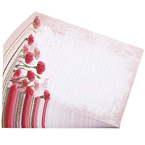 Bolbove 64 Pcs Lovely Flower Cute Plant Elegant Letter Writing Stationery Paper Lined Sheets (Carnation)