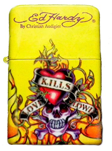 (Ed Hardy Oil Lighter Tattoo Design Flip-Top Flint Refillable-LOVE KILLS SLOWLY)