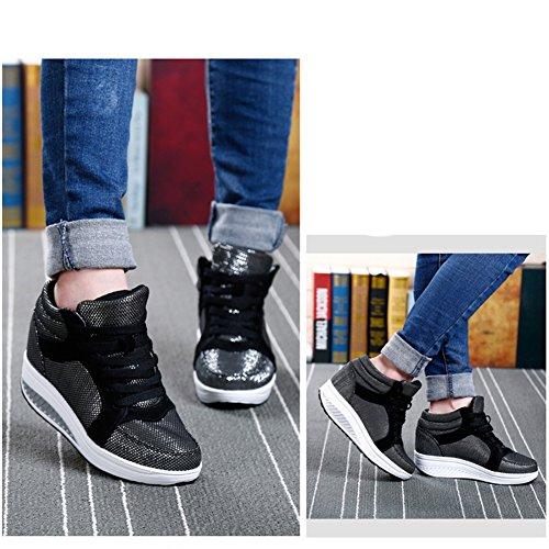 Btrada Womens Scarpe Da Donna Di Moda In Pizzo Sul Tallone Traspirante Base Sneakers Casual Di Colore Grigio