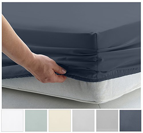 California Design Den 400 Thread Count 100% Cotton Fitted Sheet Only, Indigo Batik Queen Fitted Sheet, Long - Staple Combed Pure Natural Cotton Sheet, Soft & Silky Sateen Weave