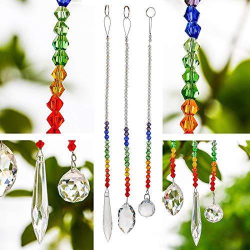 H&D Chandelier Crystal Prisms Rainbow Maker Chakra Hanging Suncatcher - Window Sun Catcher, Set of 3