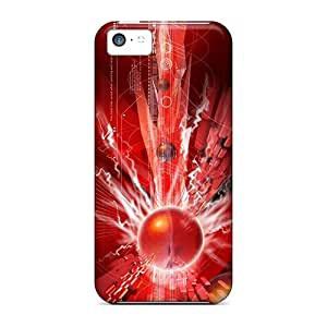 Fashion Tpu Case For Iphone 5c- Abstract Red Defender Case Cover