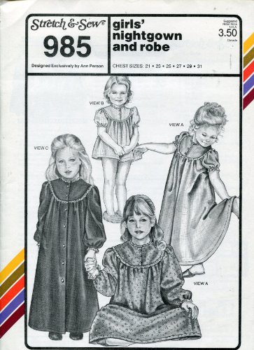 Stretch & Sew Pattern 985 ~ Girls' Nightgown and Robe ~ C...