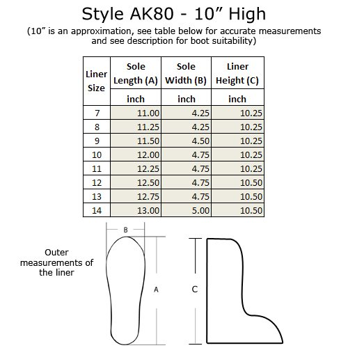 Boot Liner Ak80 - 10 Alti, Taglie 7-14