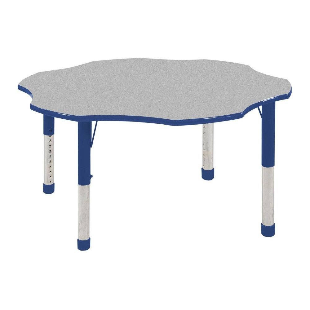 ECR4Kids T-Mold 60'' Flower School Activity Table, Chunky Legs, Adjustable Height 15-24 inch (Grey/Blue)