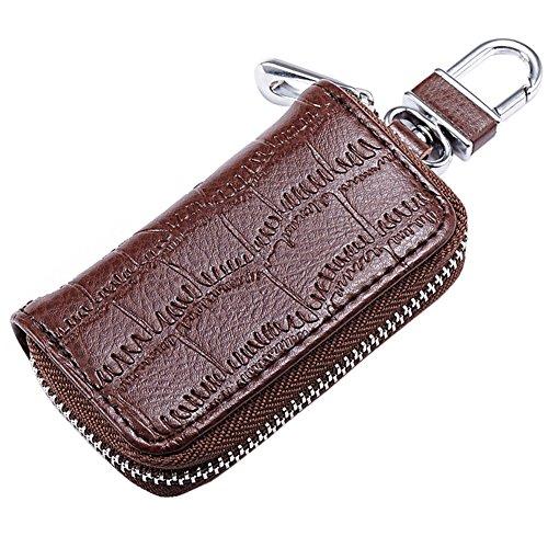 Grebest Interior Decoration Key Holder Fashion Crocodile Embossed Genuine Leather Car Key Bag Zipper Wallet Holder Case - Coffee
