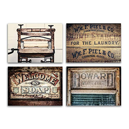 Rustic Country Laundry Room Decor Unframed Set of 4 5x7 Fine Art Photographs. Wringer, Starch, Washboard and Laundry Soap Pictures.