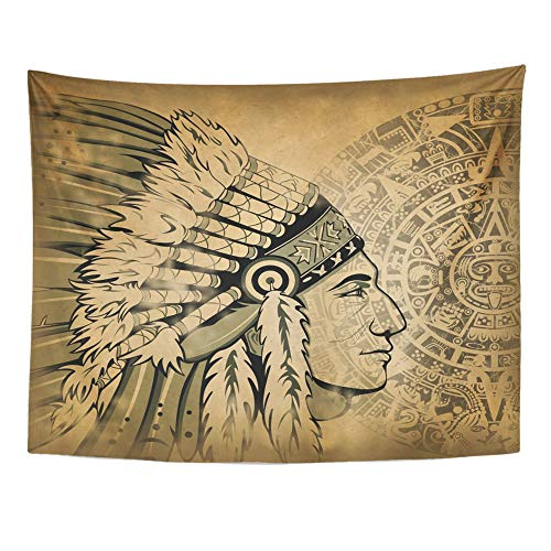 Emvency Tapestry Wall Hanging Mayan Aztec Calendar and Face of The Man with Traditional Headdresses on Old Warrior 60