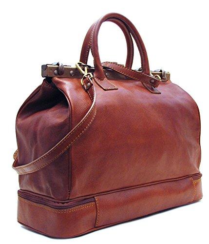 - Floto Positano Gladstone Travel Bag in Saddle Brown Italian Calfskin Leather