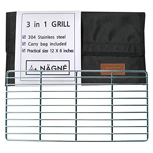 NAGNE – bushcraft backpacker's Original Grill Grate Welded 304 Stainless Steel – Carry Bag Included – Compact Size Perfect Gear for Backpacking, Camping – Best for Campfire