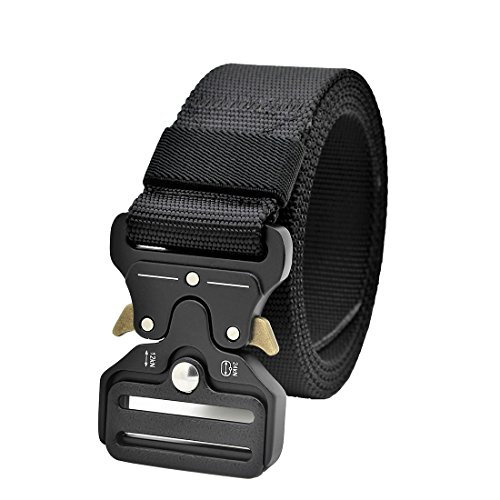 GRULLIN Tactical MOLLE Nylon Belt,Military Style Riggers Web Waist Belt with Heavy Duty Quick Release Metal Buckle for Men
