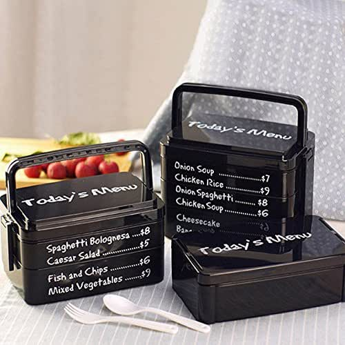 ACDOS 3 Layers Today's Menu Lunch Box Microwave Bento Box Japanese Style Bento Lunch Container ACDOS (Color : Color Black)