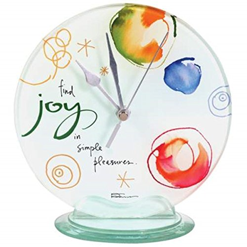 WL SS-WL-22118, 6.75 Inch Joy Round Desk Clock Collectible Decoration Statue Display, 6.75