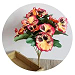 Dance to this Desk Party Ornament Hotel Pansy Fake Artificial Flowers Office Simulation Plant Table Home Wedding Bouquet Decor,Orange