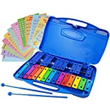 Xylophone 25 Note Chromatic Glockenspiel in a Blue Plastic Case - Card Sets with 23 Letter-Coded Songs - 15 Color-Coded Song E-book