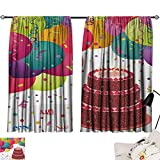 Jinguizi Birthday Room/Bedroom, Strawberry Triplex Cake with Candles Ribbons Balloons Newborn Celebration Theme Image Darkening Curtains Multicolor W108 x L72