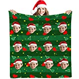 Custom Personalized Throw Blanket with Photos Pictures,Christmas Photo Blanket Personalized with Picture Soft Flannel Throw for Family Friend