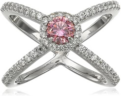 Platinum Plated Sterling Silver Made with Swarovski Zirconia Fancy Pink and Clear Criss Cross Single
