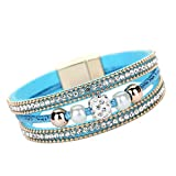 Kalinyer Bracelets for Women Multilayer Bangle Bracelet Crystal Beaded Leather Magnetic Wristband Bangle Circlet