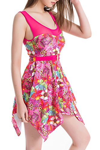 Women's Elegant Skirt One-Piece Swimsuit High Waist Swimwear Backless Swimdress Rose Red Flower 3XL(US10-12) (Palazzo Urn)