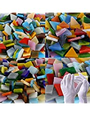 Pocoukate Mosaic Tiles Stained Glass Kit for Crafts Bulk Glass Mosaic Tiles 1000 pcs 4 Mixed Shapes Mosaic Crafts Supplies for DIY Home Decoration/Plates/Picture Frames/Flowerpots, etc