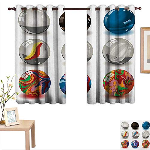 Pearls Customized Curtains Collection of Different Marbles with Glass and Porcelain Materials Like Bubbles Artwork 55