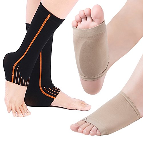 Plantar Fasciitis Socks with Arch Support – 2 Pair Foot Care Compression Sleeve, Better Than Night Splint, Eases Swelling & Heel Spurs, Ankle Brace Support, Increases Circulation, Relieve Pain Fast