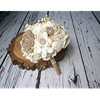 Medium Ivory Brown Rustic Wedding Bouquet Sola and Burlap Flowers Lace and Pearls