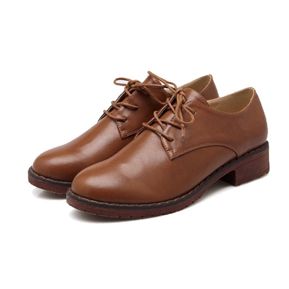 Women's Chunky Heel Flat Oxfords Shoes Lace up Casual Sneaker